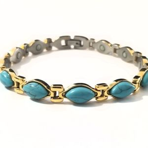 """New stainless steel turquois magnetic bracelet 8"""""""